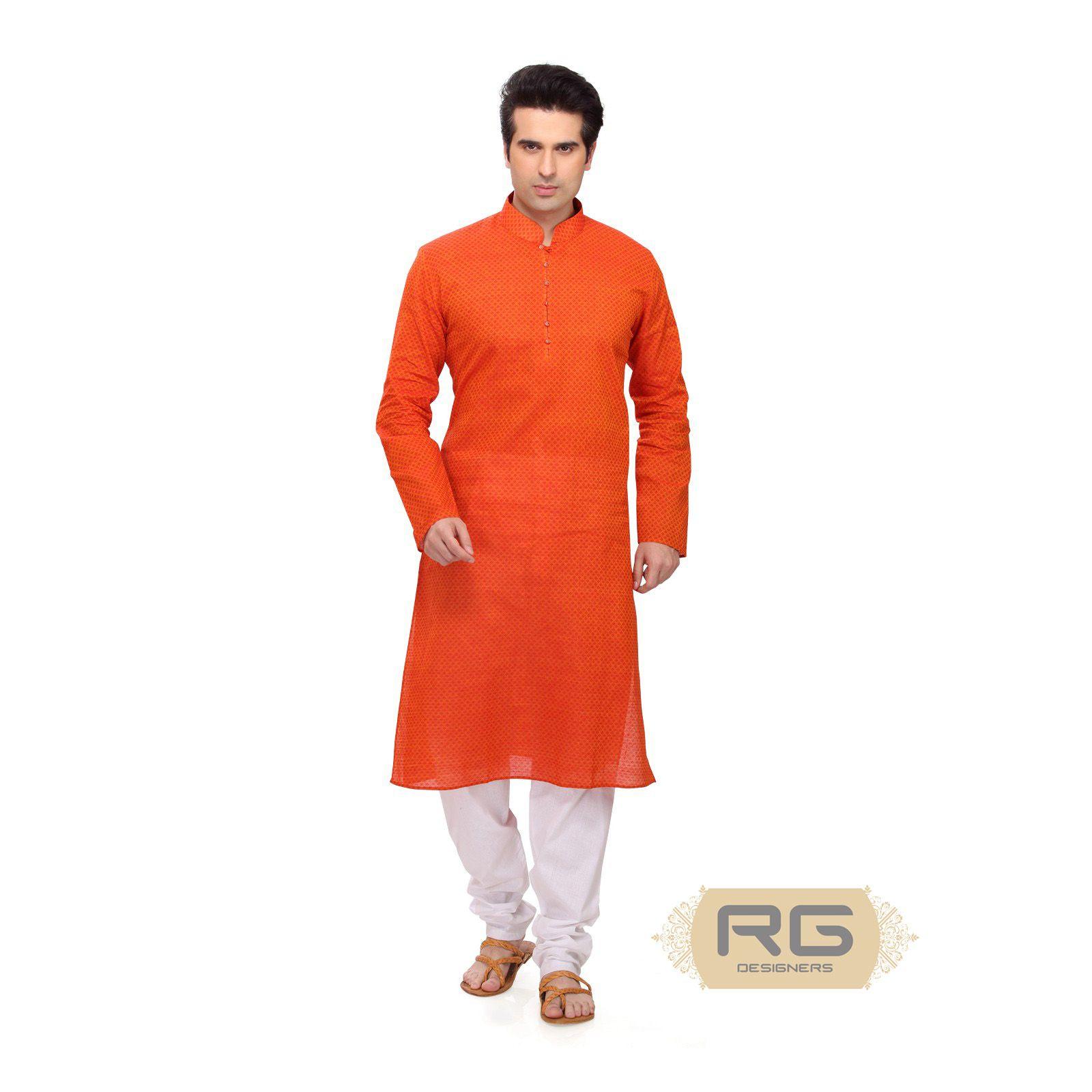 4cdef8929a Bright orange cotton hand-loom kurta with self design and white churidar  pants, for men.    Cotton Kesri Moti Kurta Set    RG Designers