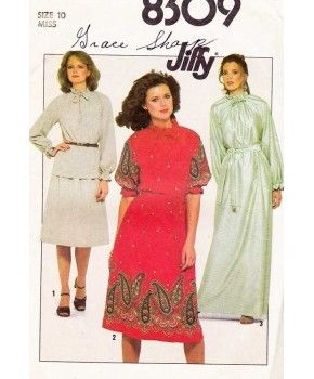 Vintage 70s Womens Pullover Blouse And Skirt Sewing Pattern Misses Size 10 Simplicity 8309