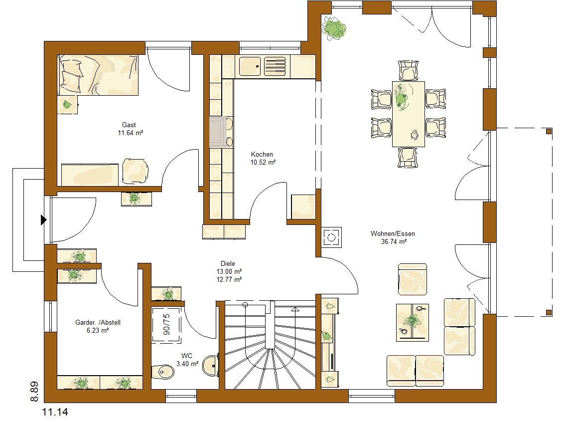 Clou 159 grundriss erdgeschoss haus pl ne house floor for Minimalistisches haus grundriss