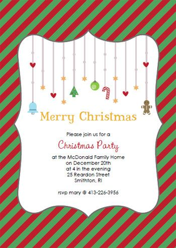 Printable Red  Green Striped Christmas Party Invitation Template - holiday party invitations free