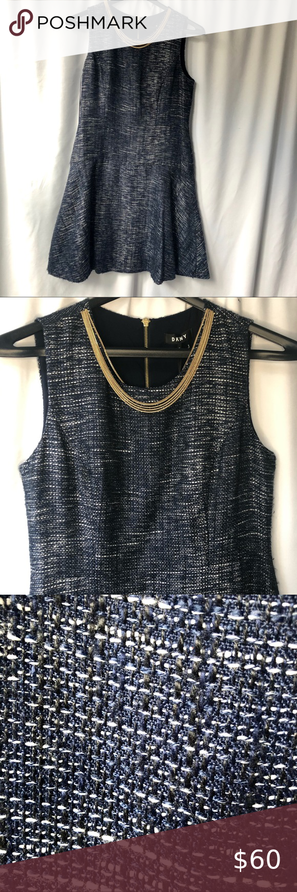 DKNY navy blue and black women's dress New with tag, women's dress  Perfect ...