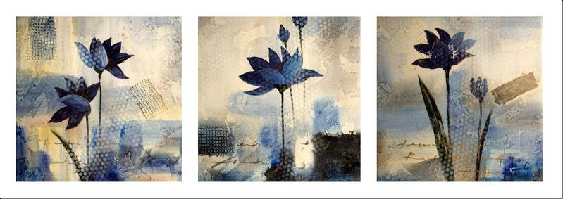 Cuadros abstractos cuadros modernos tripticos flores azules cuadros pinterest flores for Imagenes de cuadros abstractos tripticos