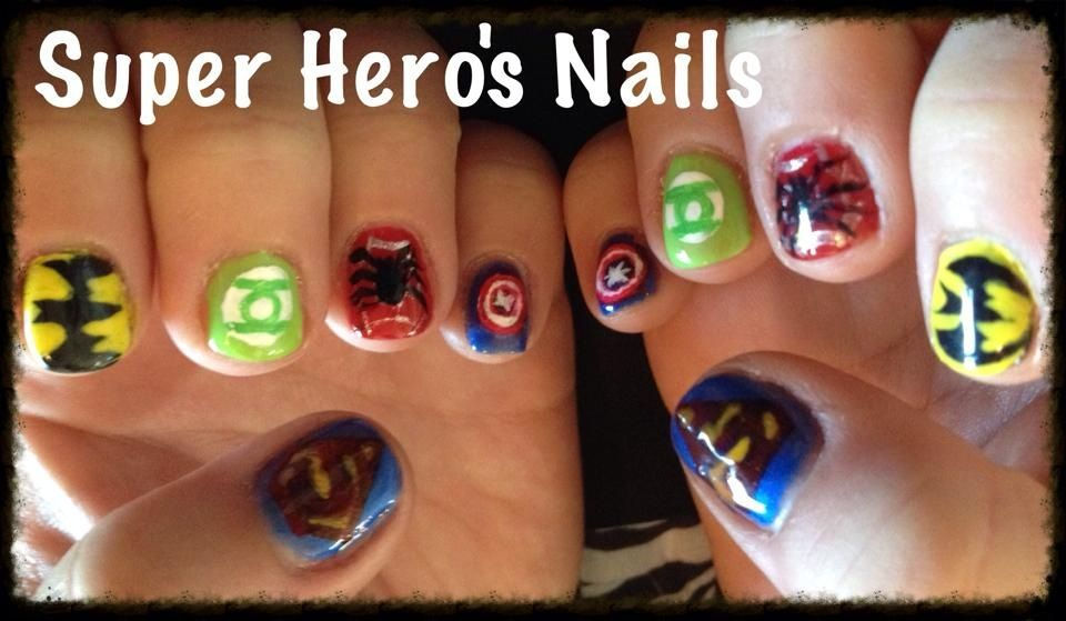 Super hero nail art on Gelish