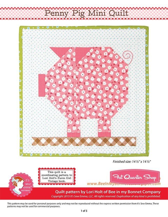 Penny Pig Downloadable PDF Mini Quilt PatternBee in my Bonnet ... : lori holt quilt patterns - Adamdwight.com