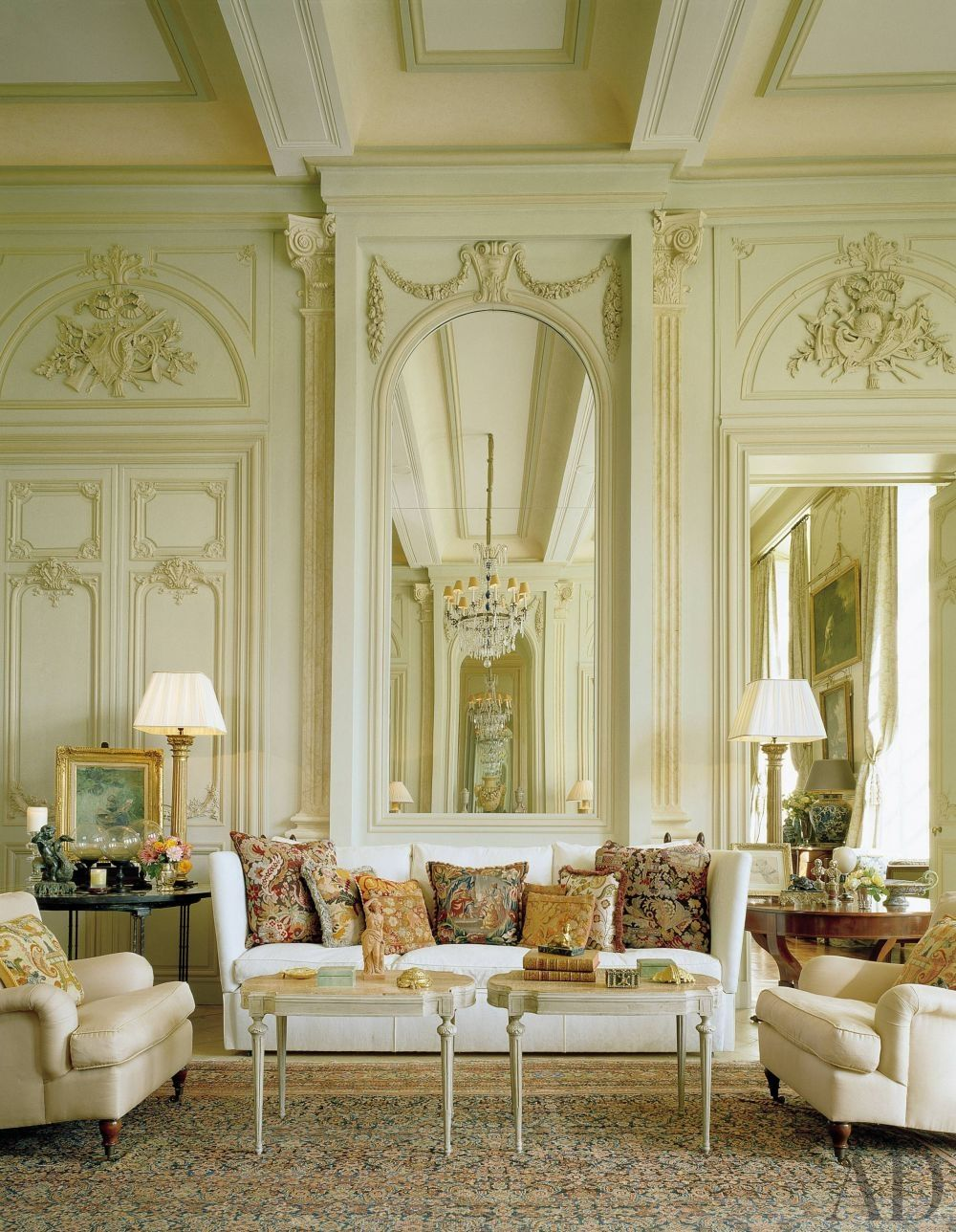 TRADITIONAL LIVING ROOM BY TIMOTHY CORRIGAN INC. In the grand salon ...