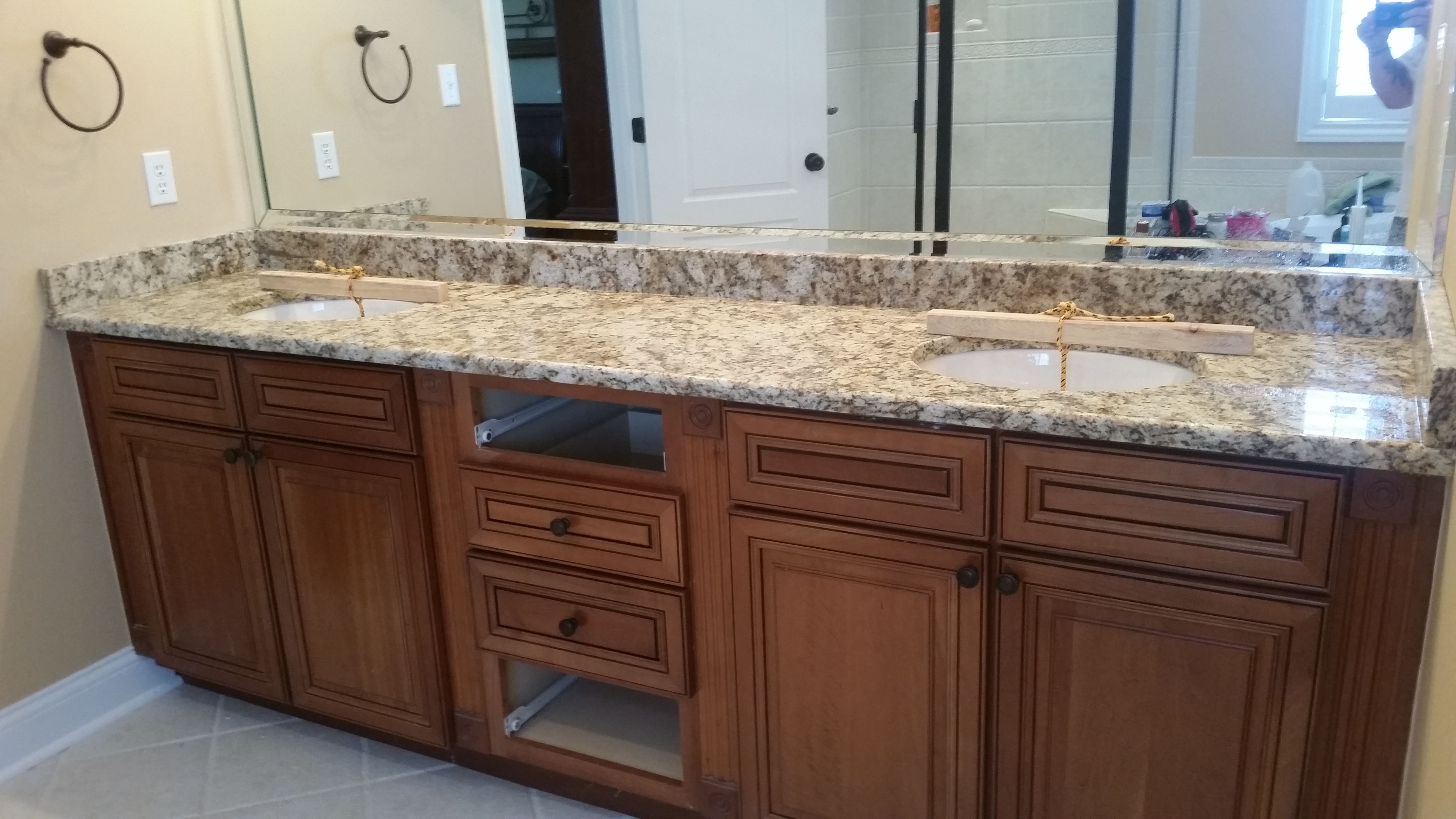 giallo napoli granite bathroom vanity install for the rafferty family knoxvilles stone interiors showroom