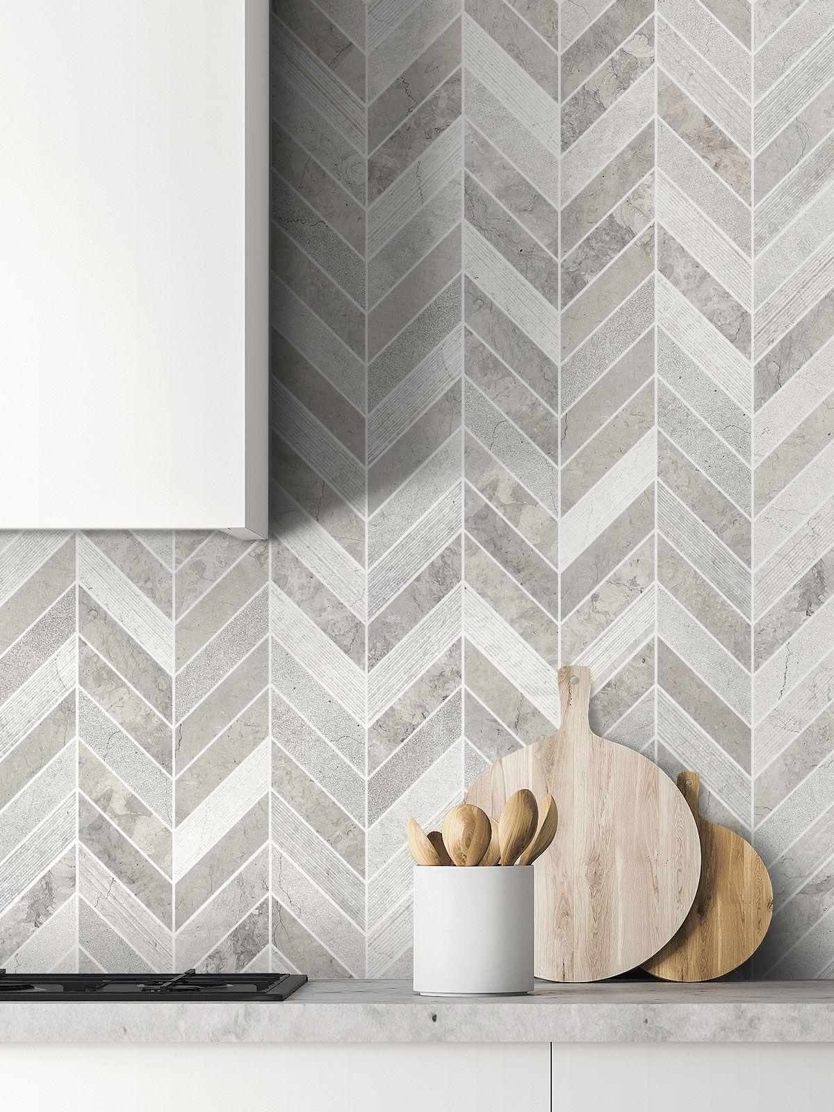 Best Gray Modern Limestone Chevron Backsplash Tile Backsplash 400 x 300