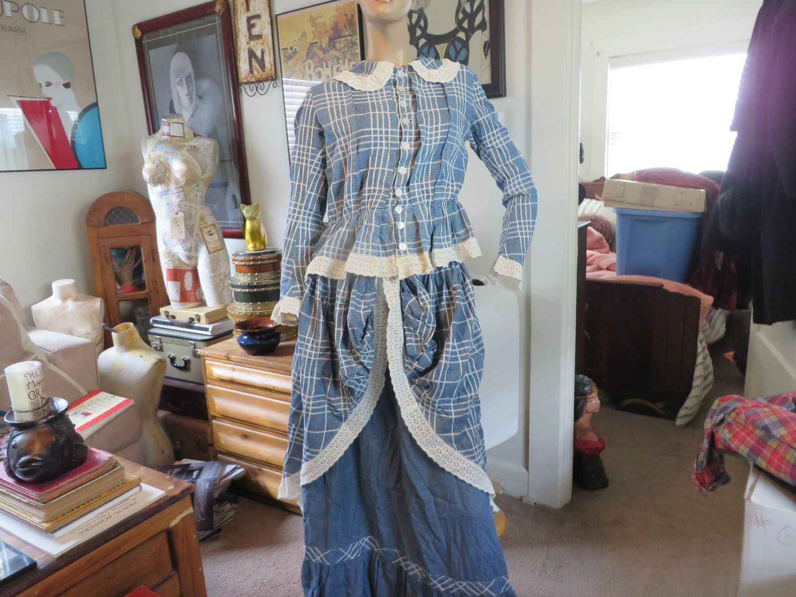 Antique Victorian Primitive Indigo Blue Dye Gingham Lace Dress Repair | eBay