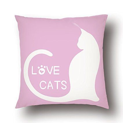 Amazon.com - YELLONION™ Love Cats Cotton & Polyester Square Decorative Throw Pillow Case Cover with Zipper, Home Decor Cushion Case 18x18 Inch(Size Can Be Customized) -