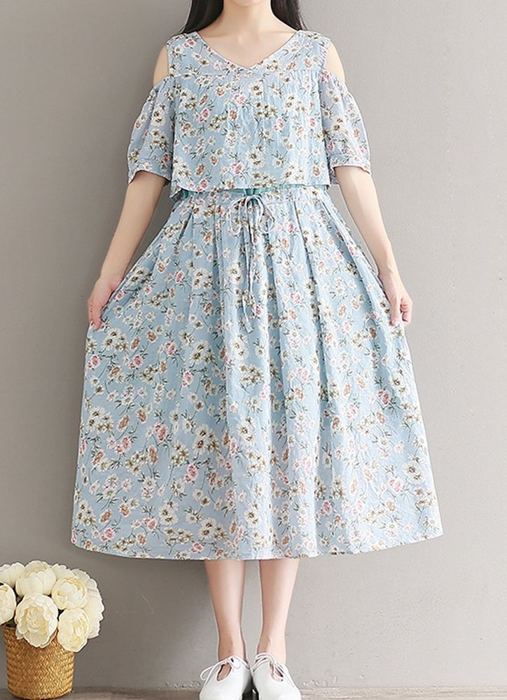Women loose fitting over plus size flower dress 2 pieces long maxi tunic chic