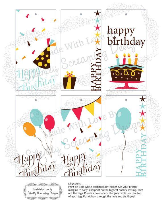 Birthday / Gift Tags - Printable File - Instant Download | Tarjetas