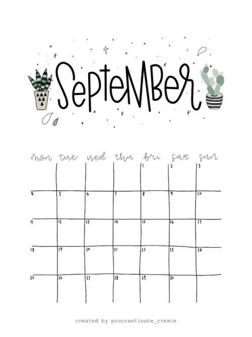 Calendar Ideas Tumblr : Procrastinate create — free september calendar printable