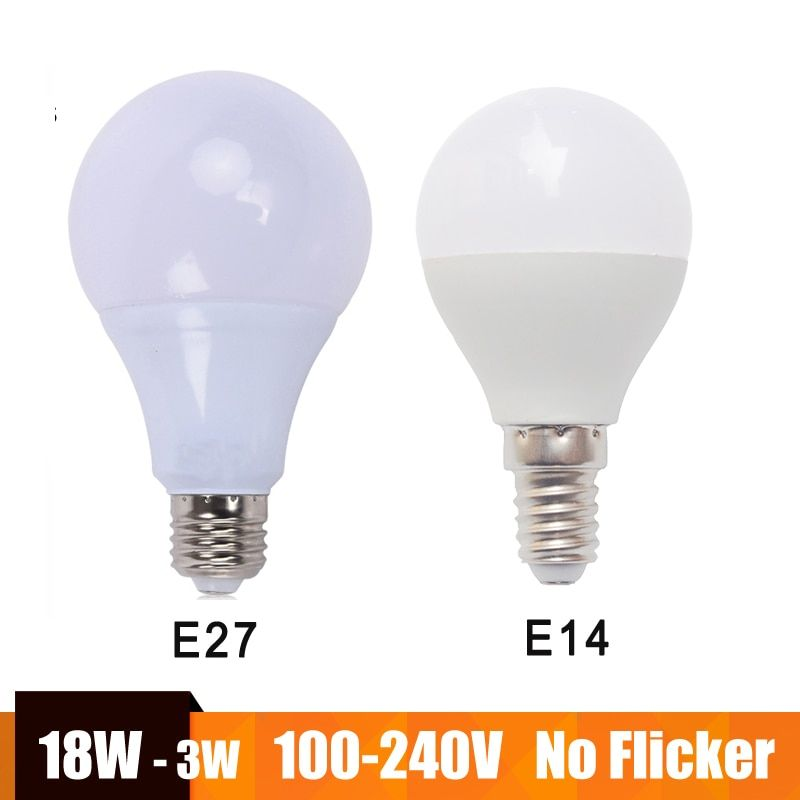 E27 Led Lamp E14 Led Bulb Lampada Led 100 240v 18w 15w 12w 9w 3w Bombillas Led Warm Cold White For Home Chandeliers Tabl Led Bulb Chandelier Table Lamp E27 Led