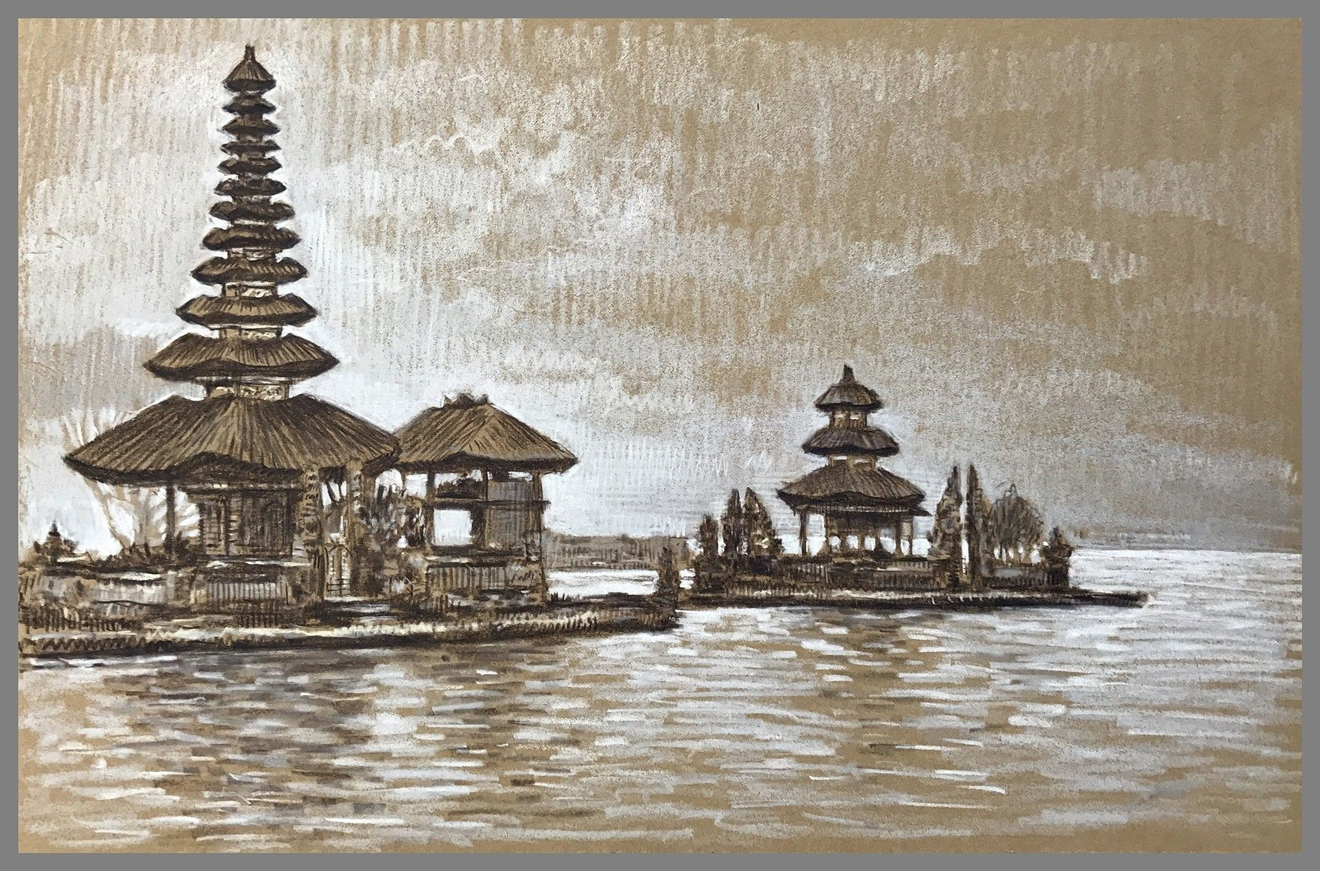 Travel Drawing Pura Ulun Danu Bratan Bali Indonesia