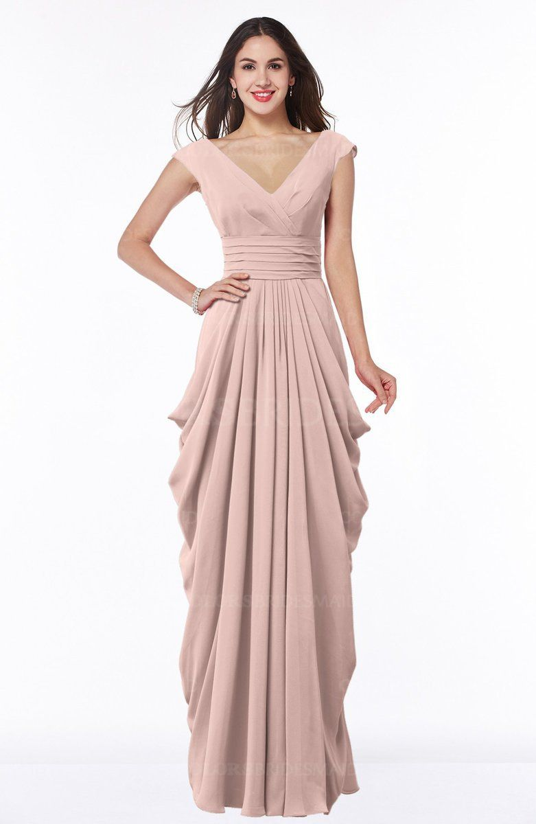 259a38885e2 Dusty Rose Mature V-neck Short Sleeve Chiffon Floor Length Plus Size  Bridesmaid Dresses on sale at colorsbridesmaid.com. The Chiffon with Floor  Length ...
