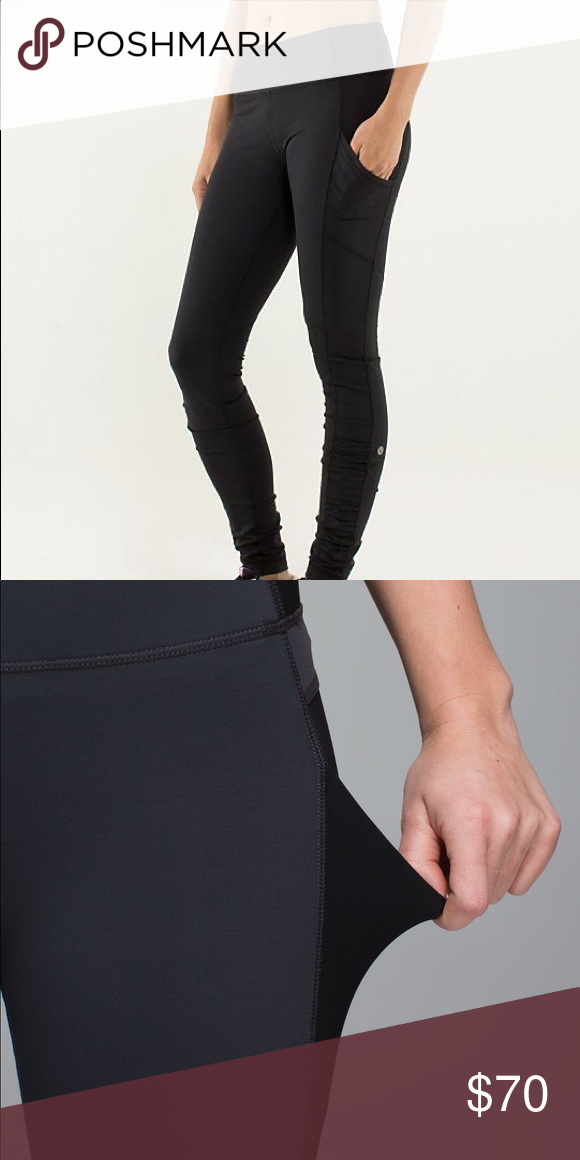 6e099f6ab5 Black full length lululemon leggings with pocket Gently used lululemon  leggings! Size 4 (though tag is ripped off) Two side pockets for holding a  phone, ...