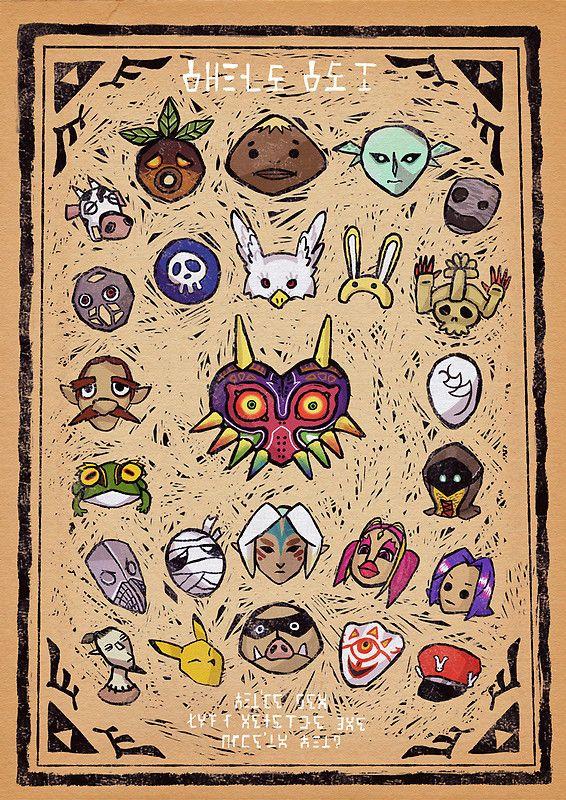 Majora S Masks By Faustice Material De Desenho Desenho Desenhos
