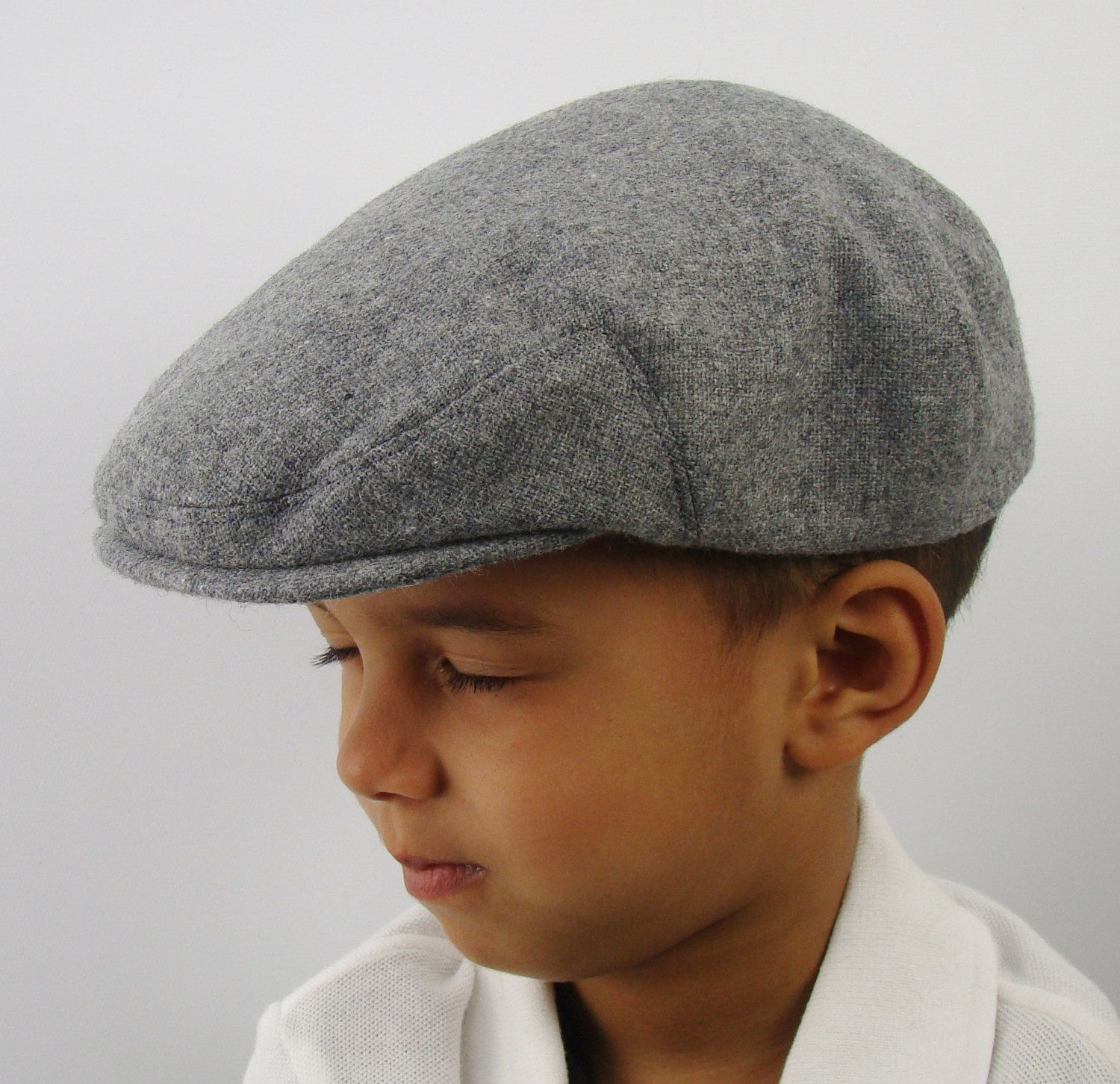 Light Grey Heather Wool Children s Sixpence Hat - Flat Jeff Cap 57b59b602b8