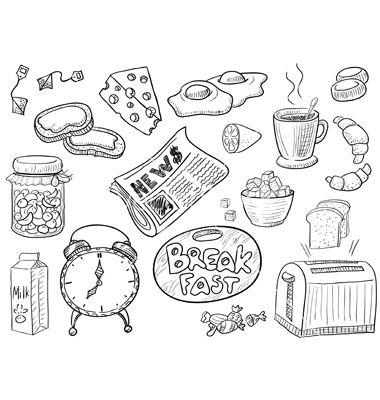 Breakfast Vector On Vectorstock 174 How To Draw Hands