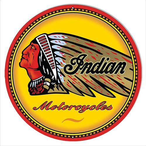 Indian Motorcycle Reproduction Garage Shop Metal Sign 14x14 Round