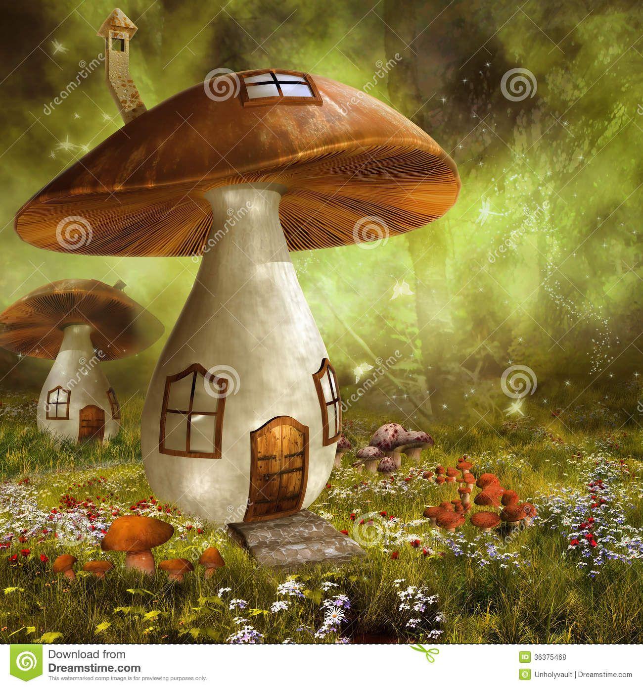 Attractive Fantasy Art Fairy Houses | Go Back U003e Images For U003e Colorful Mushrooms  Drawings