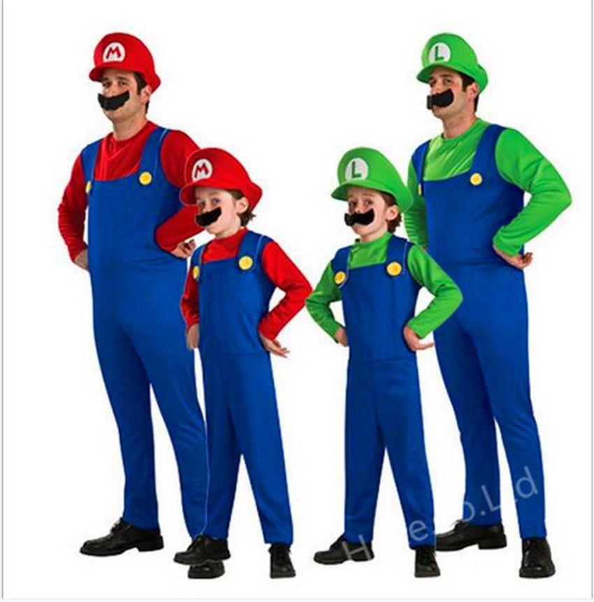 cartoon mens super mario luigi brothers cosplay costume plumber