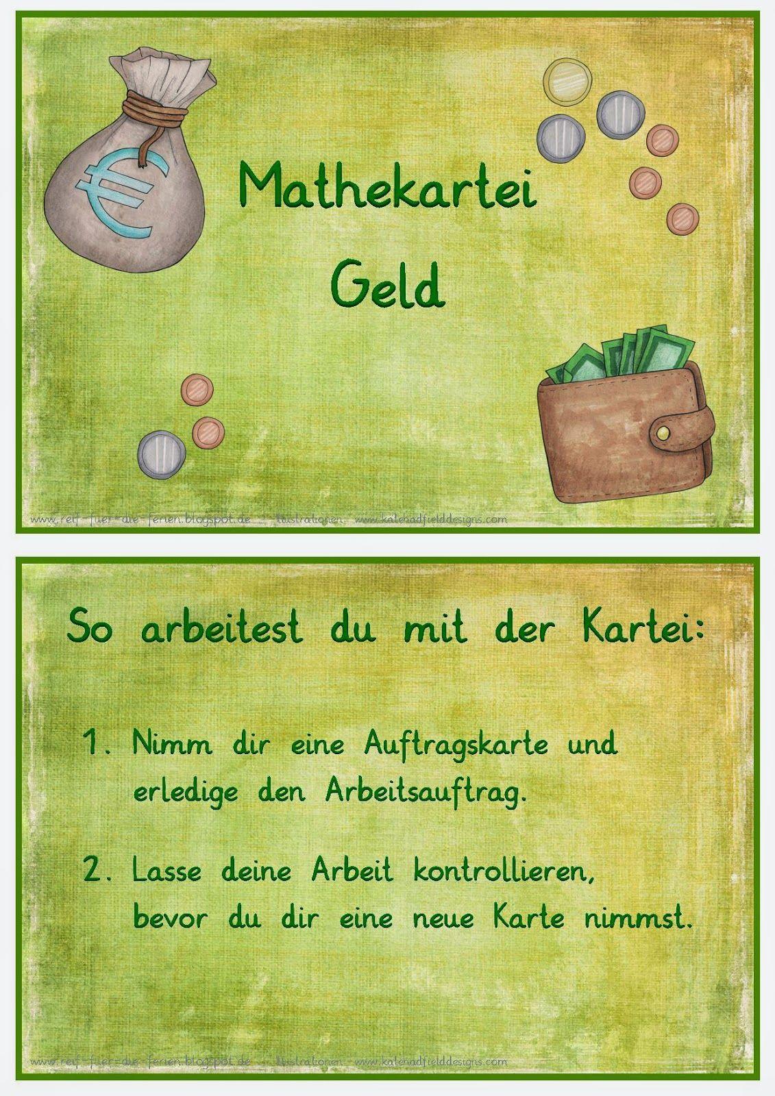 mathekartei geld schule pinterest kartei mathe und