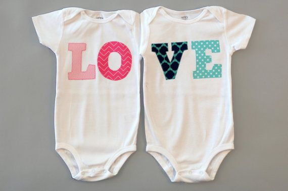 Twin LOVE Onesies : great for twin gift and twin photos via Etsy ...