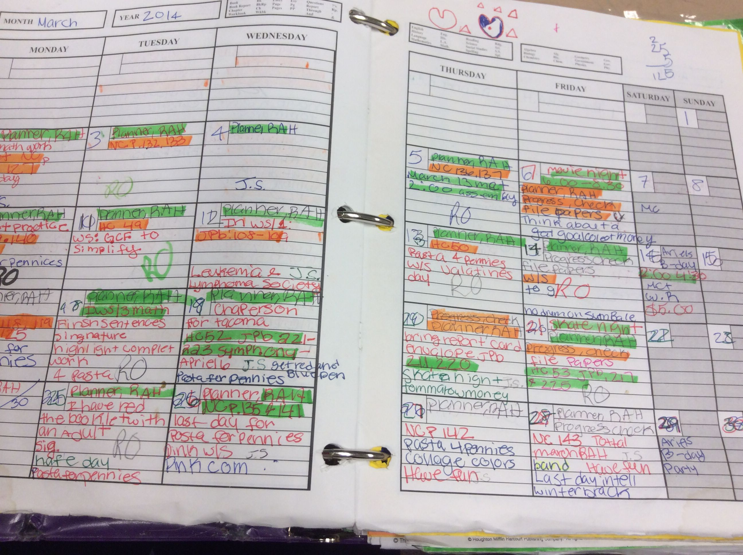 Student Planner Highlighting Strategy For What Needs To