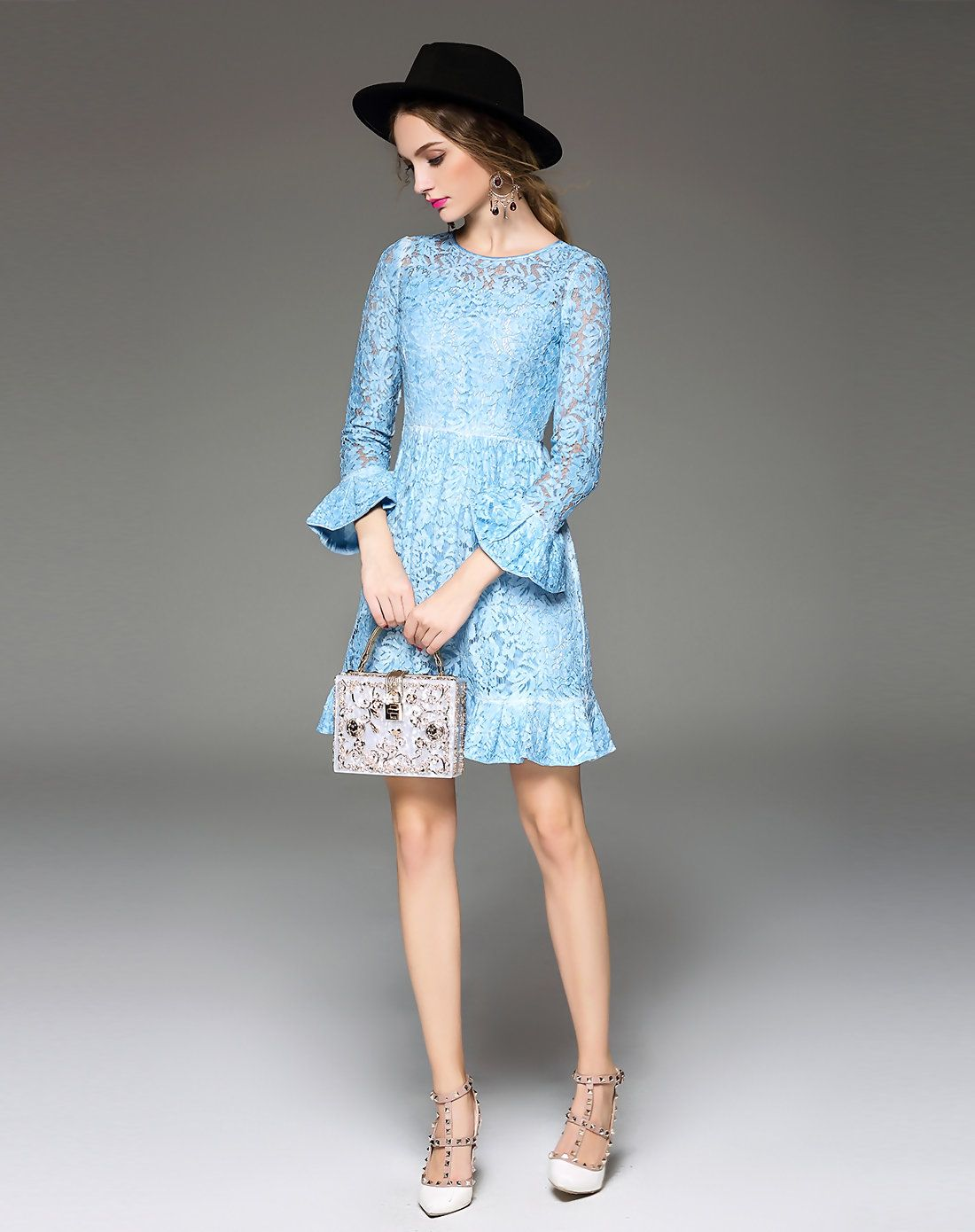 Blue lace pierced bell sleeve mini dress blue lace piercing and