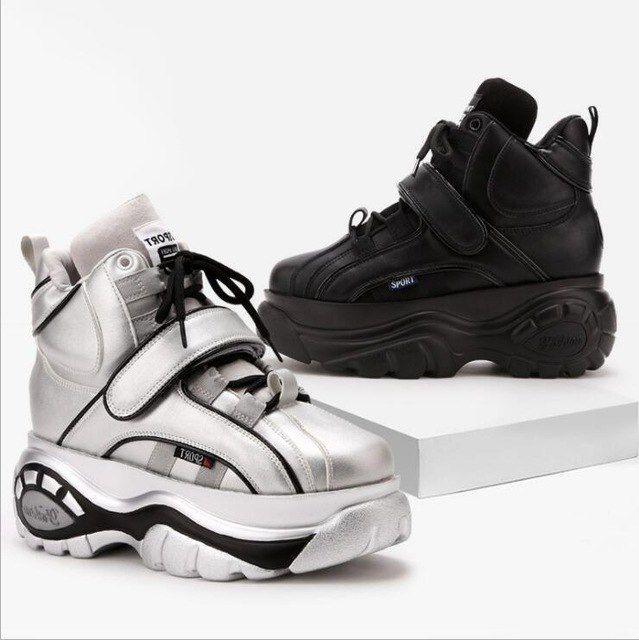 ac374b2a [Предпродажной] высокого качества Женские кроссовки спортивная обувь  прогулочная обувь 2018 осенние и зимние новые толстой подошве повышение  кроссовки W123