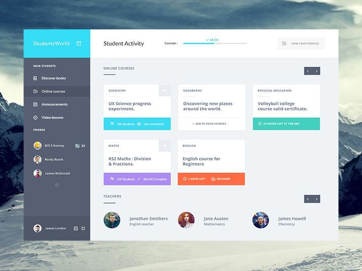 student courses dashboard flat ui design - Ui Design Ideas