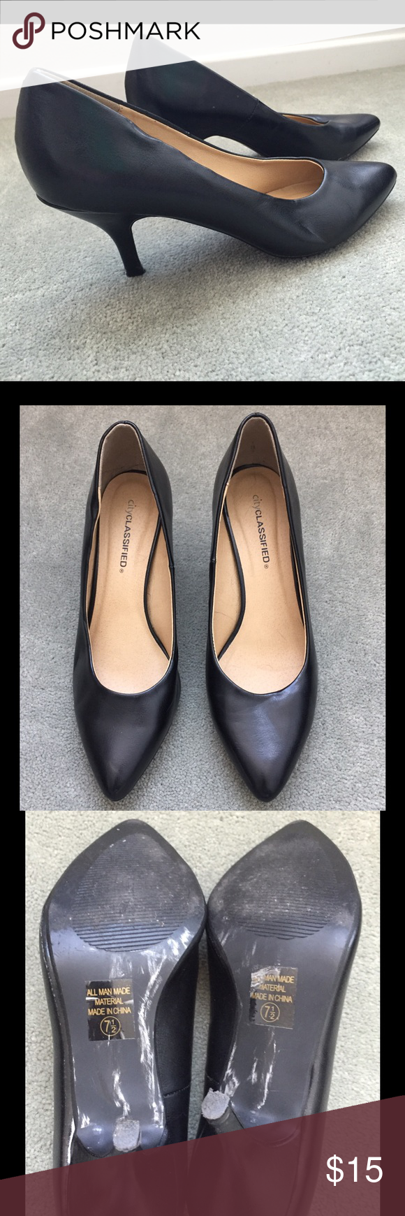 Classic Black Heels In great condition. Heel size about 1-2 inches. Thanks for looking and feel free to ask any questions 😊 City Classisfied Shoes Heels