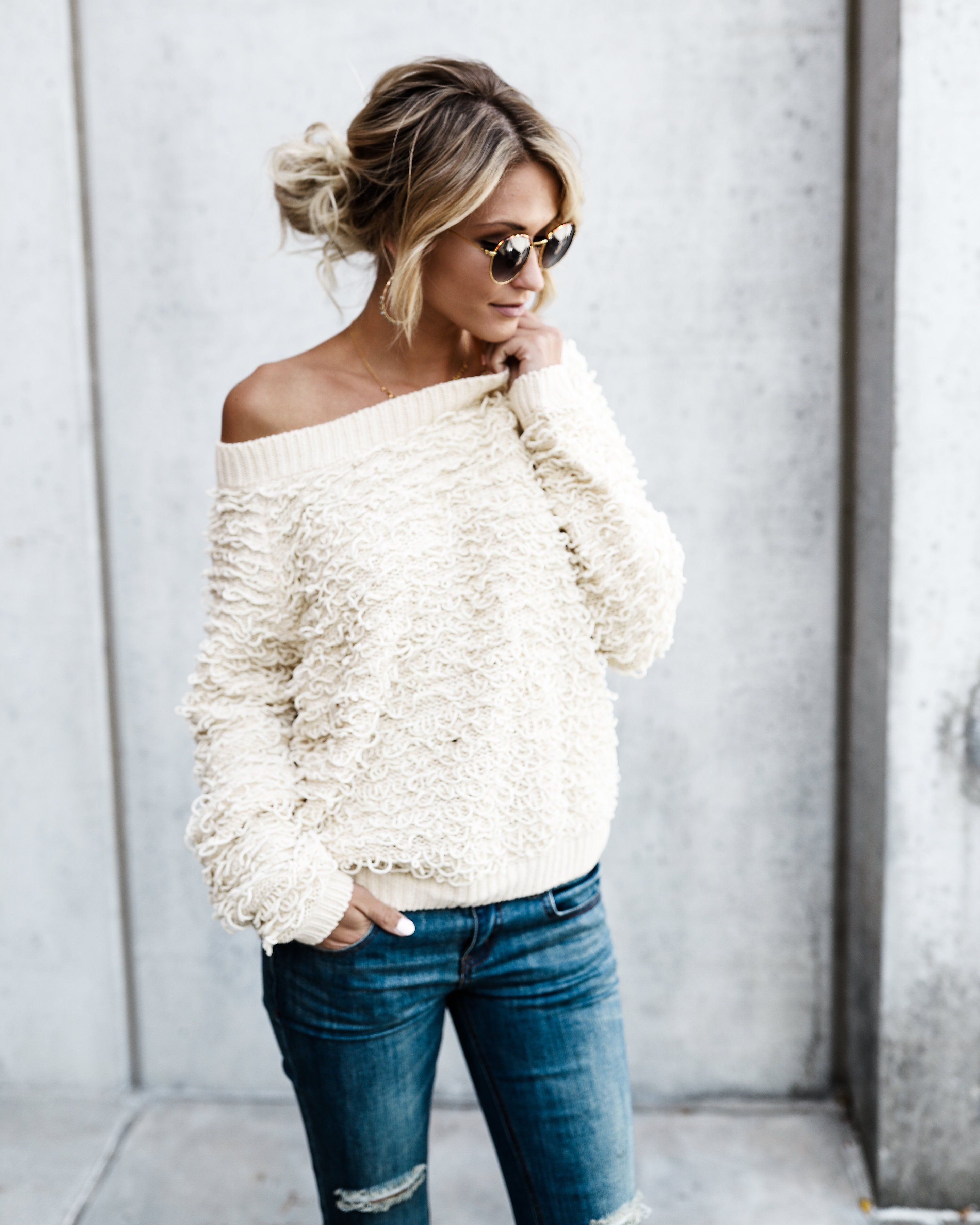 Looped In Sweater - Cream