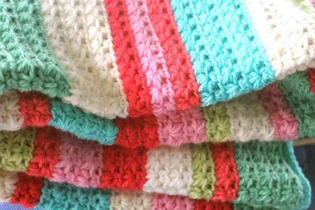 Star Stitch crocheted blanket - love the colors on this afghan. You can find ...