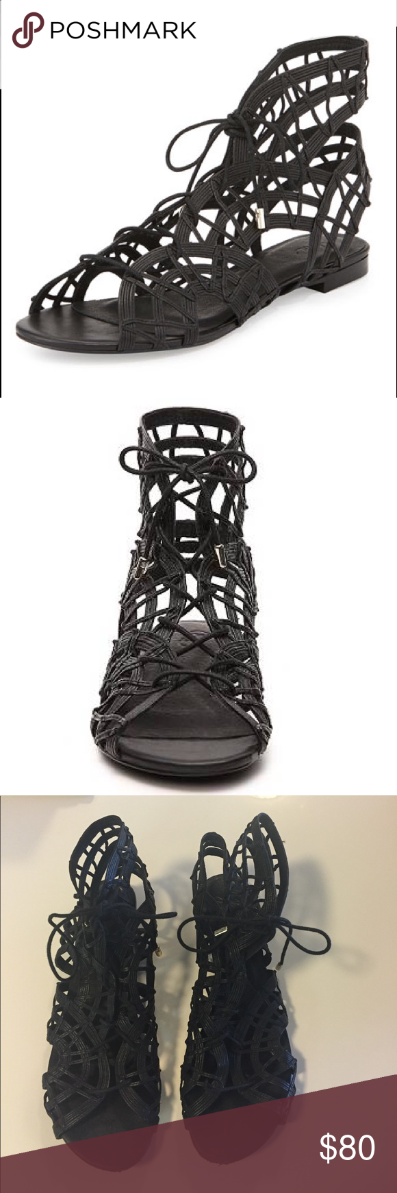 Women's Joie Renee Gladiator Lace-Up Sandal Brand: Joie                                                                              Heel: 0.50 Inches.                                                                  Size: 8.5.                                                                                Material: Leather                                                                  Toe Shape: Peep-Toe. Slightly worn; minor damage at the toe, some discolouration on the soles. Joie Shoes…
