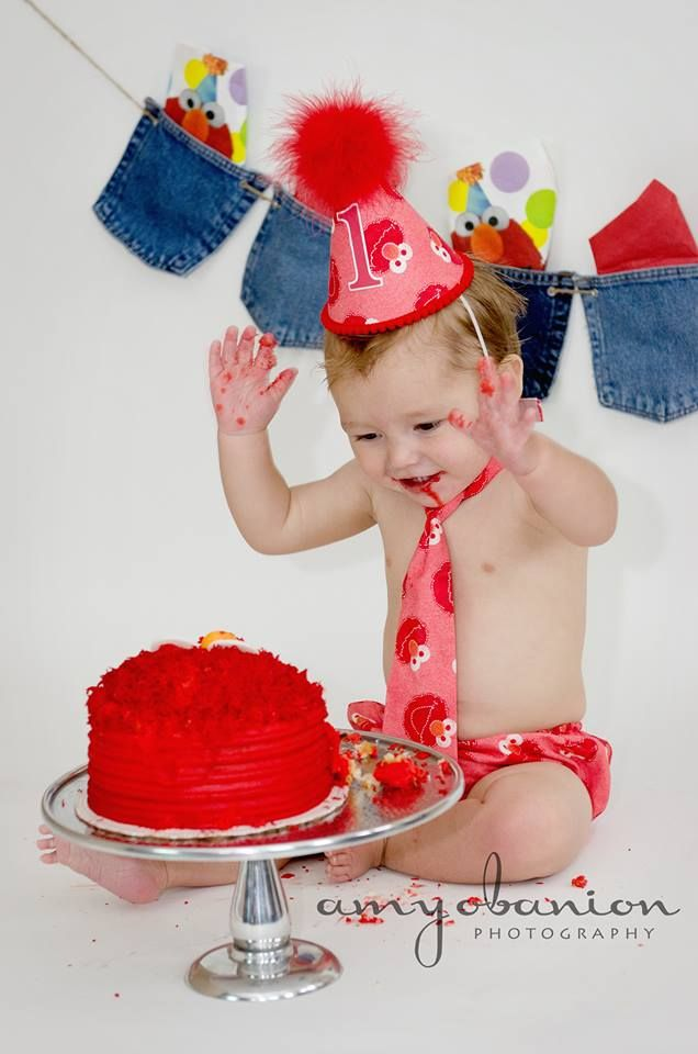 Elmo Smash Cake Photo session Susans Sweet Creations