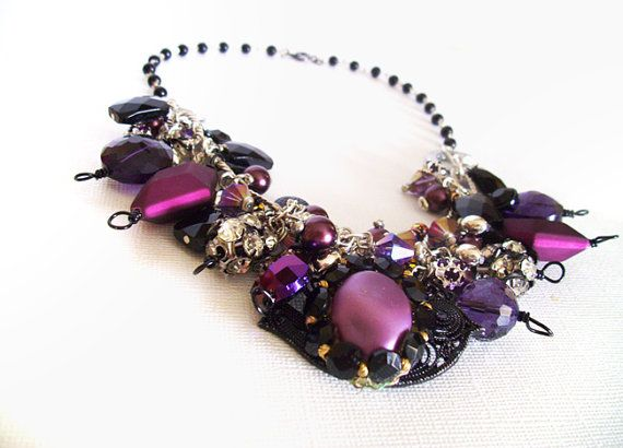 Statement Necklace Black and Plum Chunky Necklace by EmsJewelry, $45.00