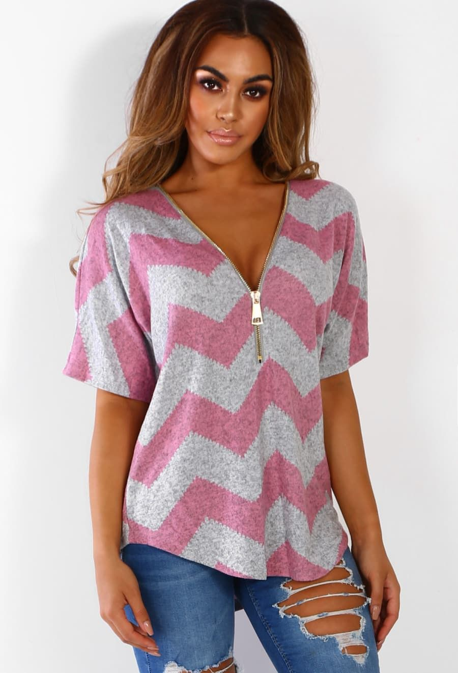d9c6f66187a Soul Mate Pink And Grey Chevron Zip Front Top