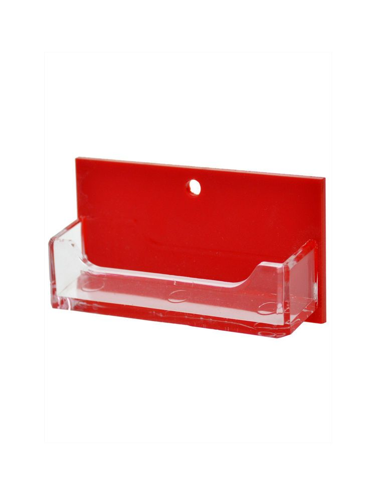 Business Card Holder Red and Clear Single Pocket Horizontal Wall ...