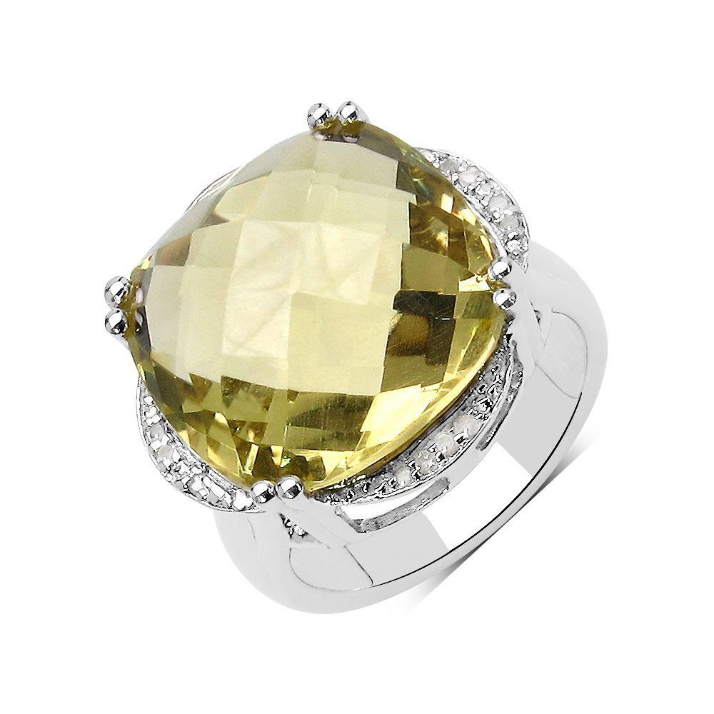 Olivia Leone .925 Sterling Silver 13.05 Carat Genuine Lemon Topaz & White Diamond Ring (Size-