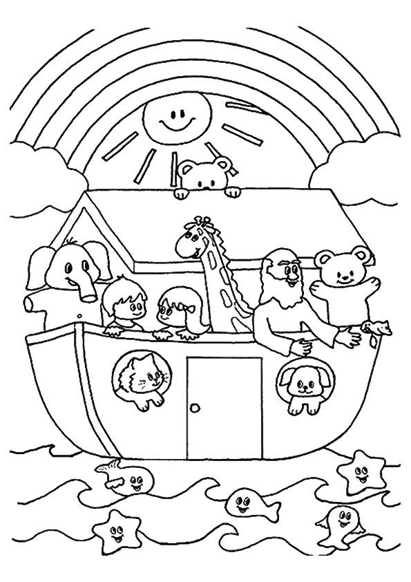 Noah's Ark Coloring Pages : noah's, coloring, pages, Print, Coloring, Image, MomJunction, Sunday, School, Pages,, Preschool, Noahs