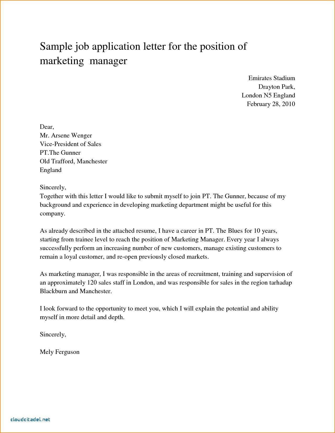 25 Application Cover Letter Job Application Letter Sample