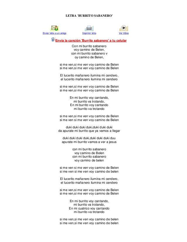 Resultado De Imagen Para Letra De El Burrito Sabanero Burritos