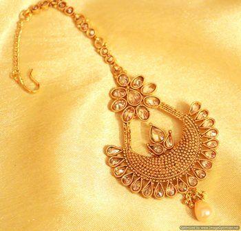 Gold look polki chaand baali tikka Shopping