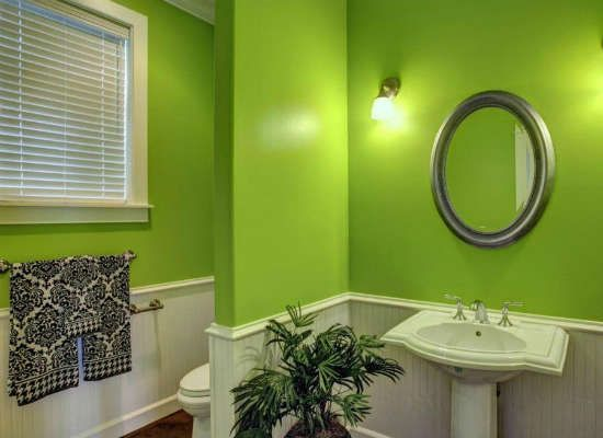 Lime Green Energizes Interiors Both Large And Small Perfect For A Poorly Lit Room Many Homeowners Us Green Bathroom Bright Green Bathroom Lime Green Bathrooms