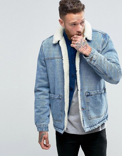 3d0e3315a3f ASOS | ASOS Fully Fleece Lined Denim Jacket in Blue Wash | Guys ...
