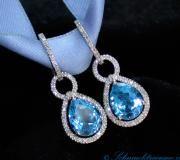 Blautopaz - Tropfen Diamanten Ohrgehänge/Creolen image
