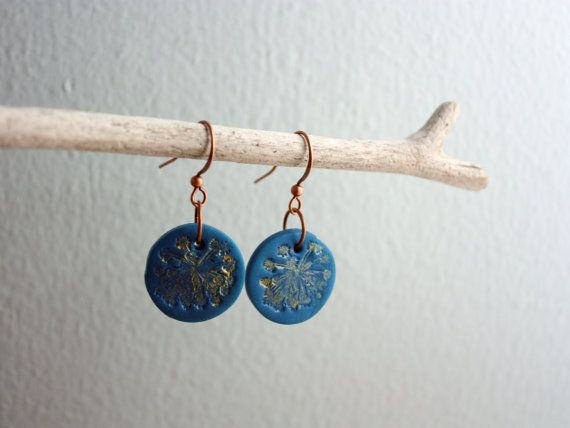 Painted Clay Earrings - Queen Anne's Lace - Dark Blue and Gold