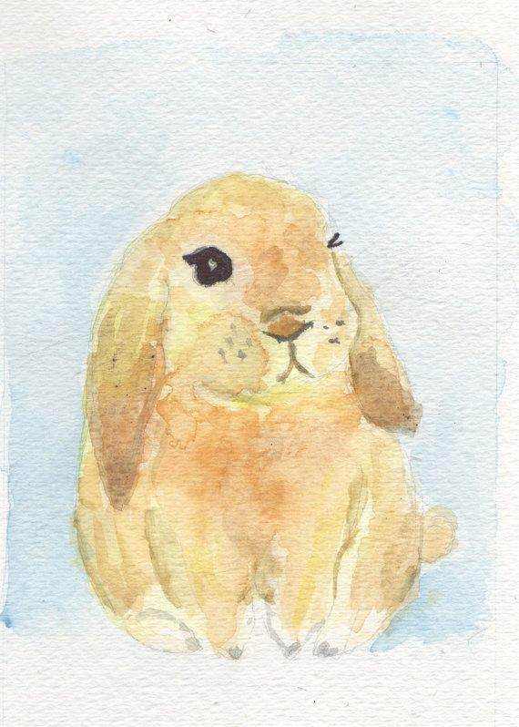 Sweet Bunny handmade watercolor print nursery wall by CupofJackie